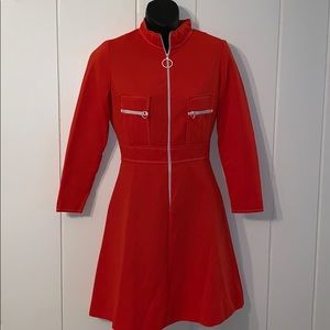 Vtg 70s tomato red double knit polyester dress
